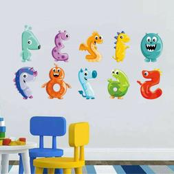 0 to 9 Numbers Wall Sticker Colorful Monster Wall Decals Kid