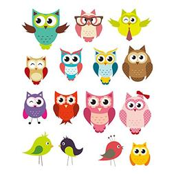 PARLAIM 0043 Owl and Bird Animal Wall Stickers,Peel and Stic