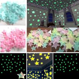 100pcs Home Wall Sticker Glow In The Dark Star Decal For Bab