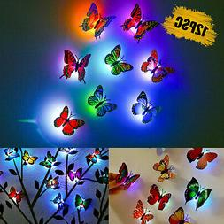 10Pcs 3D Butterfly LED Wall Stickers Glowing Bedroom DIY Hom
