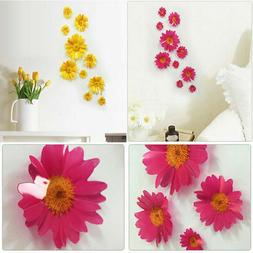 10x Removable 3D Daisy Flower Home Decor Wall Sticker Bedroo