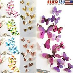 12 x 3D Butterfly Wall Stickers Home Decor Room Decoration S