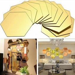 12Pc 3D Mirror Hexagon Vinyl Removable Wall Sticker Decal Ho