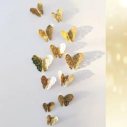 12pcs 3D Butterfly Wall Stickers Art Decals Home Room Decora