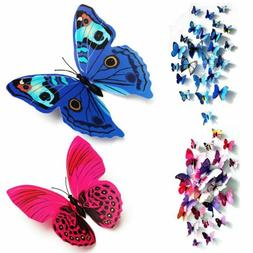 12PCS 3D Butterfly Wall Stickers Decal Removable Mural Home