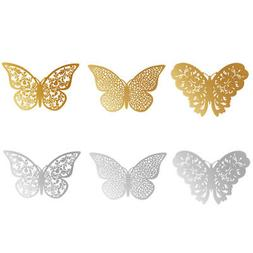 12pcs 3D Butterfly Wall Stickers Hollow Paper Decals Gold Si