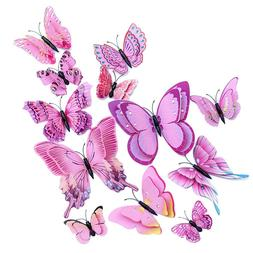 12PCs 3D Pink Vivid Butterfly Wall Decoration Kid's Room Dec