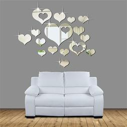 15Pcs Removable 3D Wall Sticker Mirror Love Hearts Decal Hom