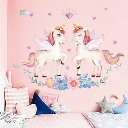 1PC Cute Unicorn Wall Sticker Rainbow Wall Decal Bedroom Nur