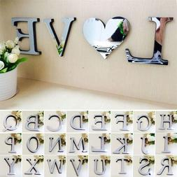 3D Mirror Wall Sticker 26 Letters Art Mural Home Room Decor