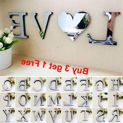 26 Letters DIY 3D Mirror Acrylic Wall Sticker Decals Home De
