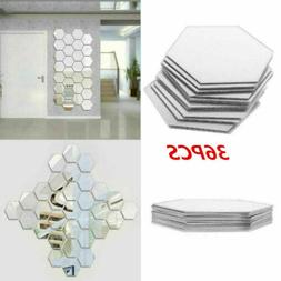 36X Acrylic Mirror Effect Tile Wall Sticker Room Decor Stick