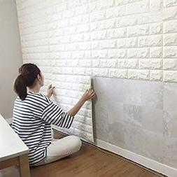 10PCS 3D Brick Wall Stickers, PE Foam Self-adhesive Wallpape