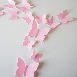 24pcs 3D Butterfly Removable Mural Stickers Wall Stickers De