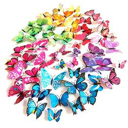 72 x PCS 3D Colorful Butterfly Wall Stickers DIY Art Decor C