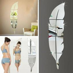 3d diy removable feather mirror home room