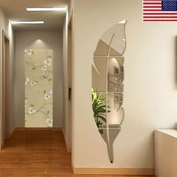 3D DIY Removable Feather Mirror Wall Stickers Art Vinyl Deca