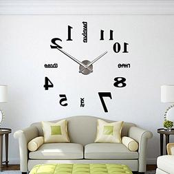 CoZroom Large Black 3D Frameless Wall Clock Stickers DIY Wal