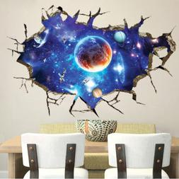 3D Outer Space Wall Stickers Room Decor Mural Art Removable