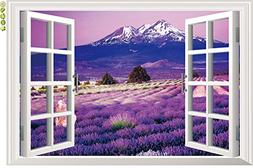 Amaonm 3D Landscape Lavender Flowers Fake Window Sticker Wal