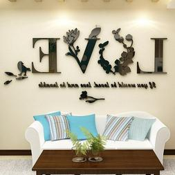 3D Leaf LOVE Wall Stickers Lettering Art Quote Sticker For L