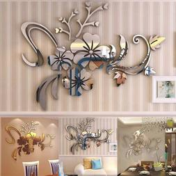 3D Mirror Floral Art Removable Wall Sticker Acrylic Mural De