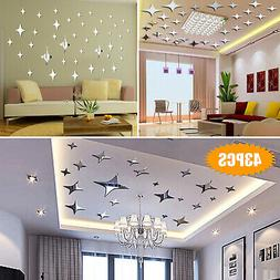 3D Mirror Star Wall Sticker Removable Decal DIY Stickers Hom
