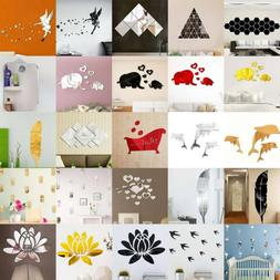3D Mirror Tiles Wall Sticker Decal Self Adhesive Home Living