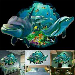 Cartoon 3D Seabed World Dolphin Removable Wall Sticker Kids