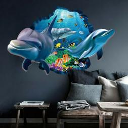 3D Ocean World Dolphin Removable Wall Stickers Vinyl Art Kid