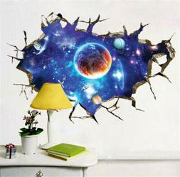 3D Outer Space Wall Decals Home Decor Mural Art Removable Ga