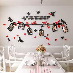 Alicemall 3D Wall Sticker Black Branch Red Leaves with Birds