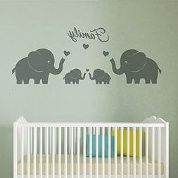 MAFENT 4 Cute Elephants Family Wall Decals Parents and Twins