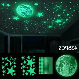 435pcs Glow In The Dark Luminous Stars & Moon Wall Stickers