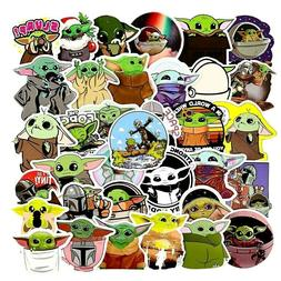 50PCS  Baby Yoda The Mandalorian Vinyl Cartoon Stickers Lapt