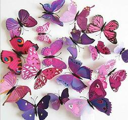 Amaonm 60 Pcs 5 Packages Beautiful 3D Butterfly Wall Decals