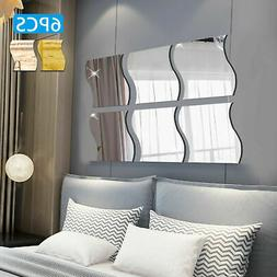 6PC 3D Mirror Wall Sticker Waves Shape Self-adhesive Home Be