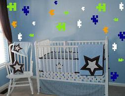96 PUZZLE PIECES  WALL STICKER DECALS 4 COLORS ROOM DECOR KI