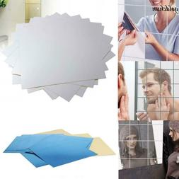 9pcs Square Mirror Tile Wall Stickers DIY 3D Decal Mosaic Ho