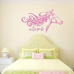 Personalized Horse Head Vinyl Wall Decal with Custom Name -