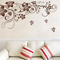 Wall Decal Brown Leaves Flowers Vine Home Sticker House Deco