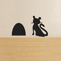BATTOO A Cat Waiting for Mouse Beside Mouse Hole Wall Decal
