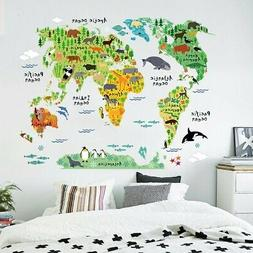 Animal World Map Kids Wall Sticker Poster Removable Art Nurs