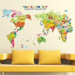 Animal World Map Wall Decal Removable Art Sticker Kids Nurse