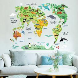 Animal World Map Wall Sticker For Kid's Room Home Decor Colo
