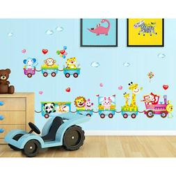 Animals Train Wall Stickers Nursery Room Decor Baby Kids Art
