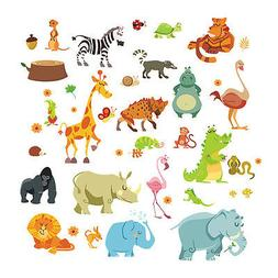 Animals Wall Stickers for Kids Nursery Rooms Monkey Elephant
