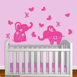 Baby elephants & Butterflies removable wall stickers for Nur