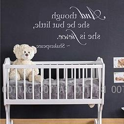 BATTOO Baby Girl Nursery Wall Decal - and Though She Be But