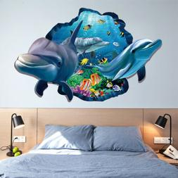 Baby Kids Bedroom 3D Dolphin Wall Stickers Background Cartoo